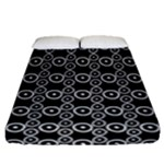 White on Black Boho Circle Pattern Fitted Sheet (Queen Size)