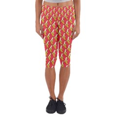 Bright Pink And Yellow Peeled Banana Patterns Capri Yoga Leggings by NorthernWhimsy