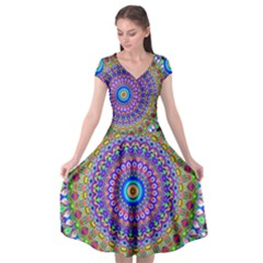 Colorful Purple Green Mandala Pattern Cap Sleeve Wrap Front Dress by paulaoliveiradesign
