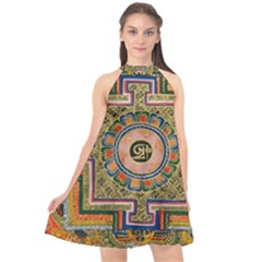 Asian Art Mandala Colorful Tibet Pattern Halter Neckline Chiffon Dress  by paulaoliveiradesign