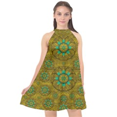 Sunshine And Flowers In Life Pop Art Halter Neckline Chiffon Dress  by pepitasart