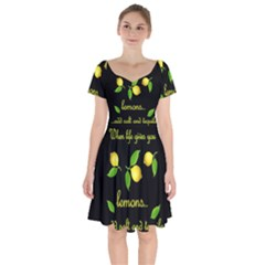 When Life Gives You Lemons Short Sleeve Bardot Dress by Valentinaart