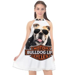 Bulldog Biker Halter Neckline Chiffon Dress  by Valentinaart