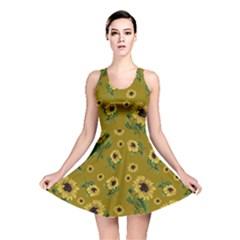 Sunflowers Pattern Reversible Skater Dress by Valentinaart