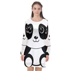 Bear Panda Bear Panda Animals Long Sleeve Chiffon Shift Dress  by Nexatart