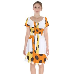 Giraffe Africa Safari Wildlife Short Sleeve Bardot Dress