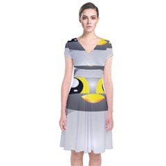 Cute Penguin Animal Short Sleeve Front Wrap Dress by Nexatart
