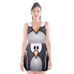 Penguin Birds Aquatic Flightless Scoop Neck Skater Dress by Nexatart