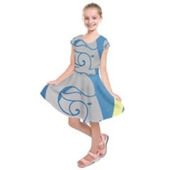 Ram Zodiac Sign Zodiac Moon Star Kids  Short Sleeve Dress
