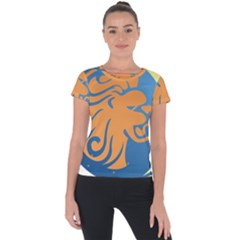 Lion Zodiac Sign Zodiac Moon Star Short Sleeve Sports Top  by Nexatart