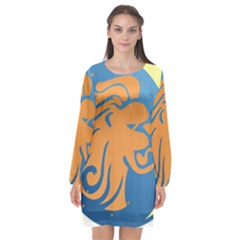 Lion Zodiac Sign Zodiac Moon Star Long Sleeve Chiffon Shift Dress