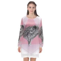Lizard Hexagon Rosa Mandala Emblem Long Sleeve Chiffon Shift Dress  by Nexatart