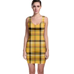 Yellow Fabric Plaided Texture Pattern Bodycon Dress by paulaoliveiradesign