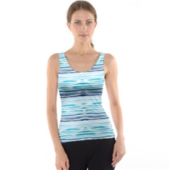 Watercolor Blue Abstract Summer Pattern Tank Top by TastefulDesigns