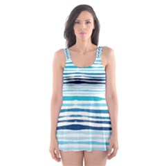 Watercolor Blue Abstract Summer Pattern Skater Dress Swimsuit by TastefulDesigns