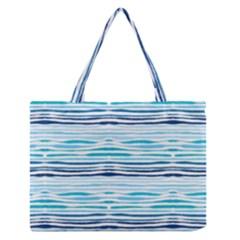 Watercolor Blue Abstract Summer Pattern Zipper Medium Tote Bag by TastefulDesigns