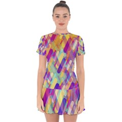 Colorful Abstract Background Drop Hem Mini Chiffon Dress by TastefulDesigns