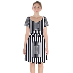 Black Stripes Endless Window Short Sleeve Bardot Dress by designworld65