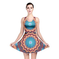 Blue Feather Mandala Reversible Skater Dress by designworld65