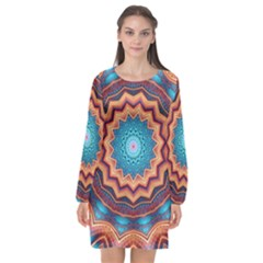 Blue Feather Mandala Long Sleeve Chiffon Shift Dress  by designworld65