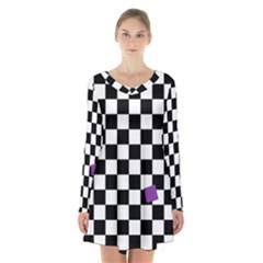 Dropout Purple Check Long Sleeve Velvet V Neck Dress by designworld65