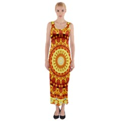 Powerful Love Mandala Fitted Maxi Dress by designworld65