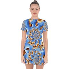 Gold Blue Bubbles Spiral Drop Hem Mini Chiffon Dress by designworld65