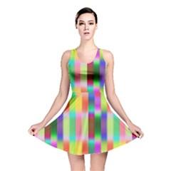 Multicolored Irritation Stripes Reversible Skater Dress