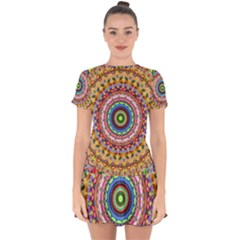 Peaceful Mandala Drop Hem Mini Chiffon Dress