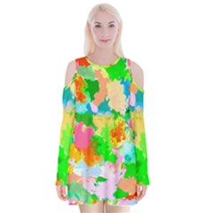 Colorful Summer Splash Velvet Long Sleeve Shoulder Cutout Dress by designworld65
