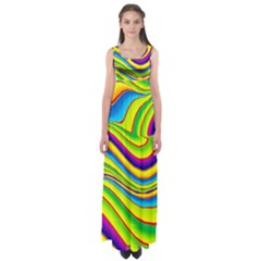 Summer Wave Colors Empire Waist Maxi Dress by designworld65