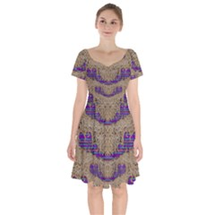 Pearl Lace And Smiles In Peacock Style Short Sleeve Bardot Dress by pepitasart