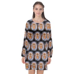 Cute Animal Drops   Tiger Long Sleeve Chiffon Shift Dress  by MoreColorsinLife