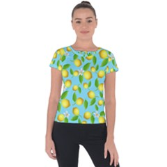 Lemon Pattern Short Sleeve Sports Top  by Valentinaart