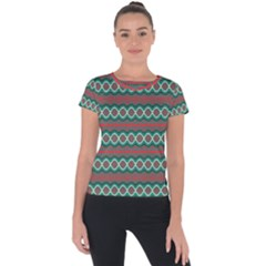 Ethnic Geometric Pattern Short Sleeve Sports Top