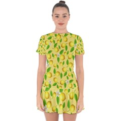 Lemon Pattern Drop Hem Mini Chiffon Dress by Valentinaart