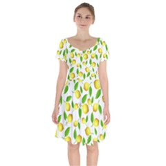Lemon Pattern Short Sleeve Bardot Dress by Valentinaart