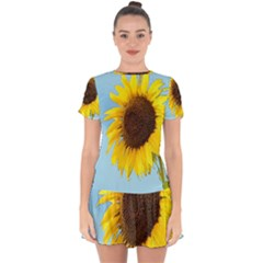 Sunflower Drop Hem Mini Chiffon Dress by Valentinaart