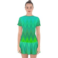 Zig Zag Chevron Classic Pattern Drop Hem Mini Chiffon Dress