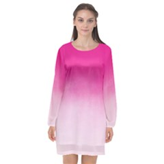 Ombre Long Sleeve Chiffon Shift Dress  by ValentinaDesign