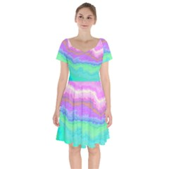 Ombre Short Sleeve Bardot Dress by ValentinaDesign