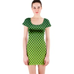 Halftone Circle Background Dot Short Sleeve Bodycon Dress