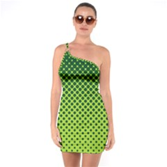 Halftone Circle Background Dot One Soulder Bodycon Dress by Nexatart