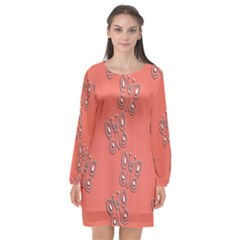 Butterfly Pink Pattern Wallpaper Long Sleeve Chiffon Shift Dress  by Nexatart