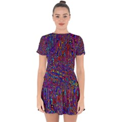 Modern Abstract 45a Drop Hem Mini Chiffon Dress by MoreColorsinLife