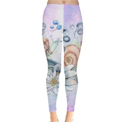 Snail And Waterlily, Watercolor Leggings  by FantasyWorld7