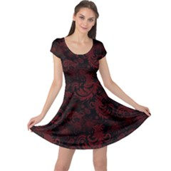 Dark Red Flourish Cap Sleeve Dress by gatterwe