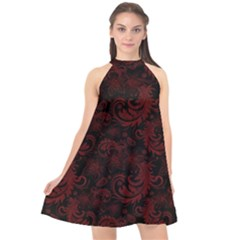 Dark Red Flourish Halter Neckline Chiffon Dress  by gatterwe