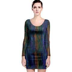Stylish Colorful Strips Long Sleeve Bodycon Dress by gatterwe