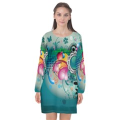 Blue Green Vector Designs Long Sleeve Chiffon Shift Dress